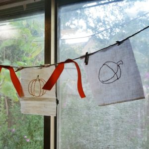 Easy fall bunting embroidery craft