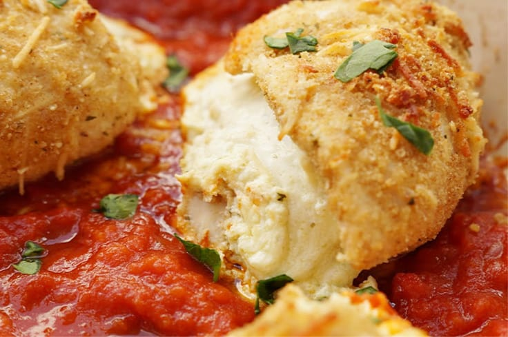 Lasagna Stuffed Chicken Breasts recipe served from a pan for dinner