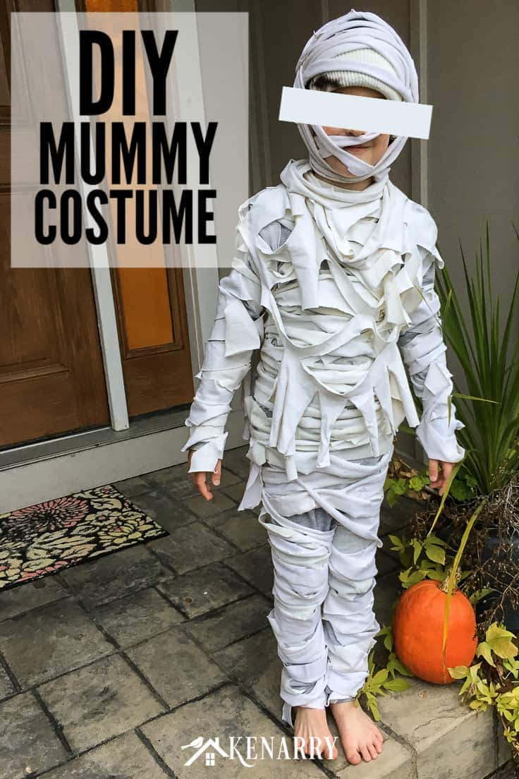 Need an easy Halloween costume idea for kids? In this DIY tutorial, you'll learn how to make a mummy costume for kids with bandages and old t-shirts. #halloween #diyhalloweencostume #kenarry