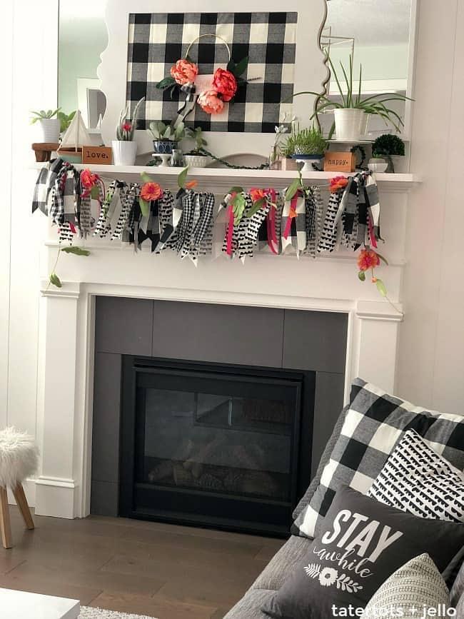 How to Make Buffalo Check Fabric Ribbon Garland - Tatertots and Jello - See more easy DIY Buffalo Plaid Decor Ideas on Kenarry.com
