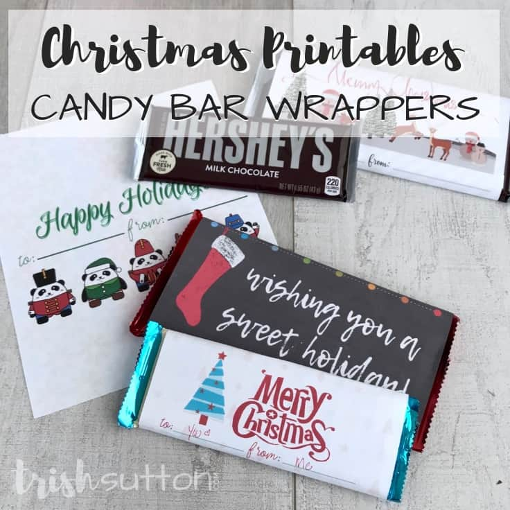 Create an inexpensive DIY gift for a neighbor, teacher, friend or another chocolate lover by simply printing one of these four free printable Christmas Candy Bar Wrappers. #christmasgifts #homemadegifts #kenarry