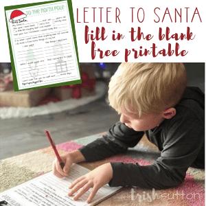 Letter to Santa | Fill in the Blank Free Printable, TrishSutton.com