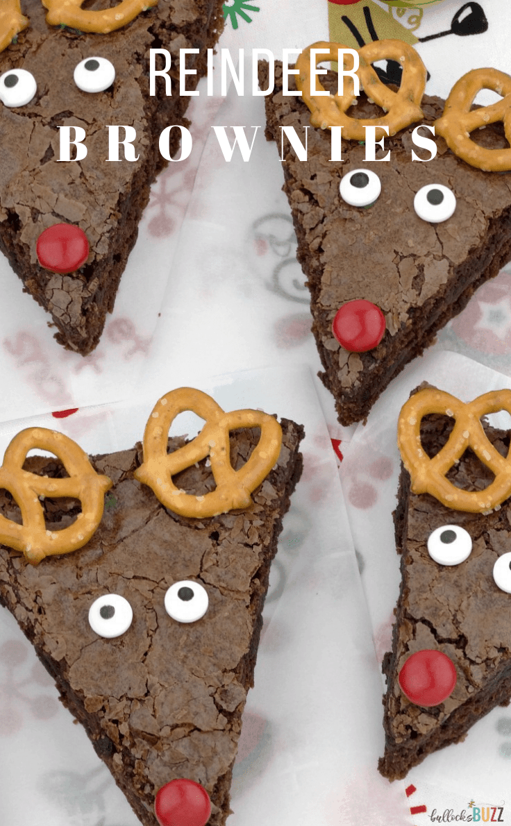 Dress up your holiday table at your next party with these cute and creative homemade Reindeer Brownies! They're easy to make, fun to decorate and deliciously sweet! #christmasdesserts #christmasrecipes #kenarry