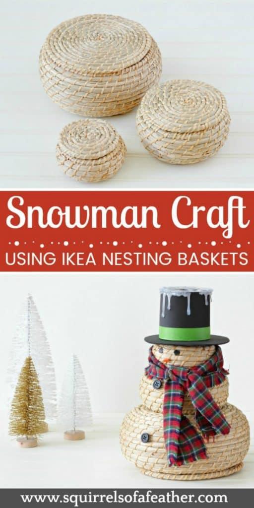 Nesting basket IKEA hack for snowman