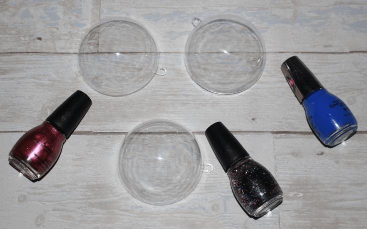 Nail polish and clear Christmas tree ornaments