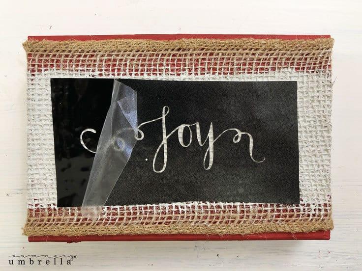 hand lettered burlap Christmas sign