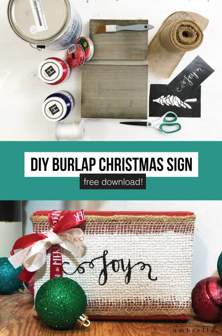 Bring a little farmhouse or rustic holiday season cheer into your home this year with handmade burlap Christmas signs! Not only can these painted wooden signs be created in a variety of colors, but they will also be a great DIY project for the whole family to enjoy. #christmas #diysigns #kenarry