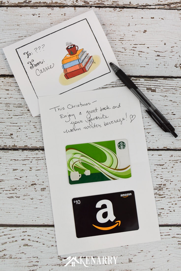 Need an easy holiday gift idea? Print this free DIY Christmas card printable design to use as a gift card holder. Just attach an Amazon, bookstore or coffee gift card! #christmascards #christmas #kenarry