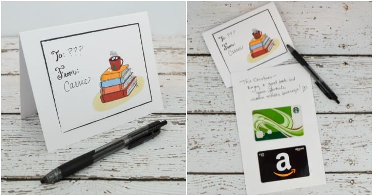 Two images side by side of a DIY Christmas Gift Card Holder. One image has Starbucks and Amazon gift cards.