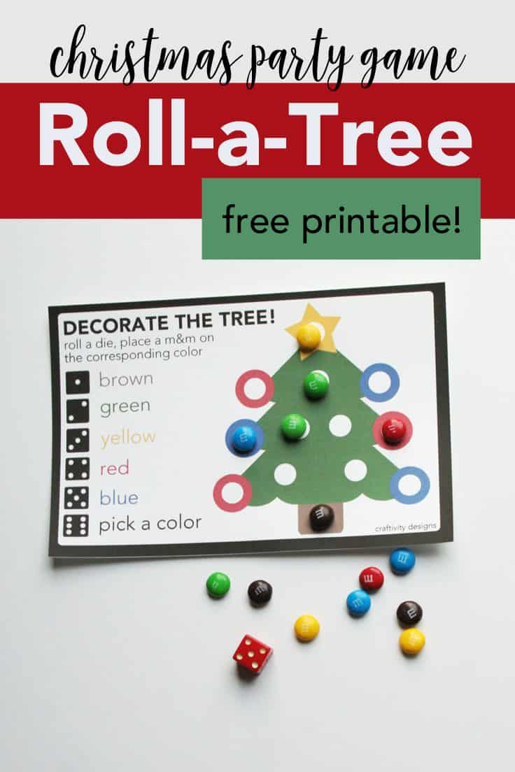 Decorate the Tree. Christmas party game - Roll-A-Tree - with free printable.