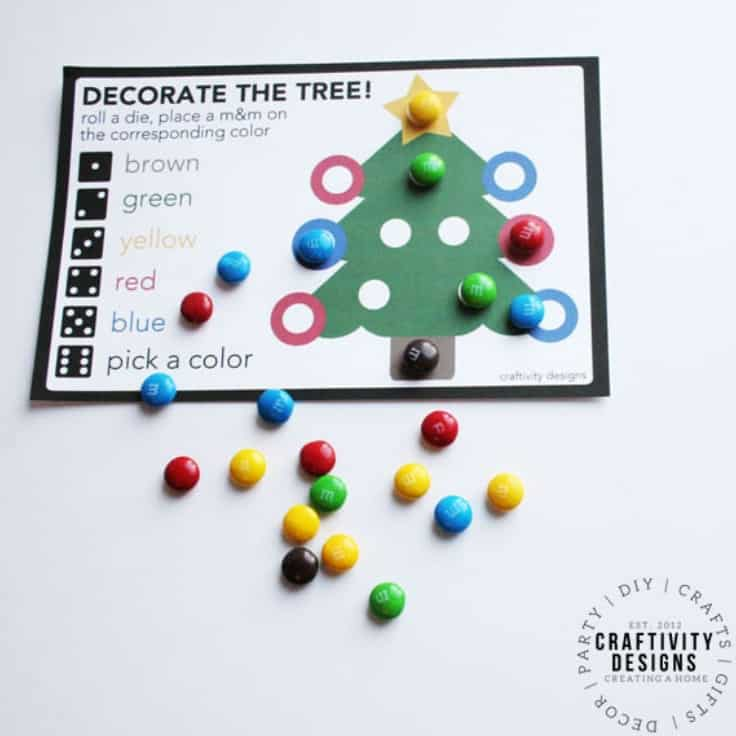 """Kids will enjoy playing """"Roll a Tree"""" at Christmas! This simple Christmas Game printable is easy to prep for Christmas parties or a family at night home. #christmasgame #christmas #kenarry"""