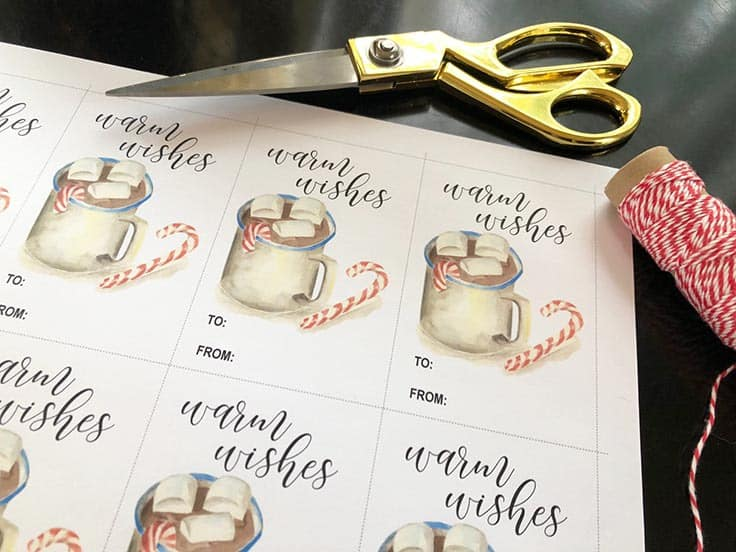 Get a head start on your holiday shopping with these 2019 monthly Watercolor Calendar printables along with FREE printable Christmas gift tags. #gifttags #printablegifttags #kenarry