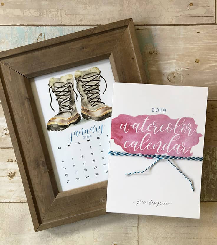 Get a head start on your holiday shopping with these 2019 monthly Watercolor Calendar printables along with FREE printable Christmas gift tags. #newyears #2019calendar #kenarry