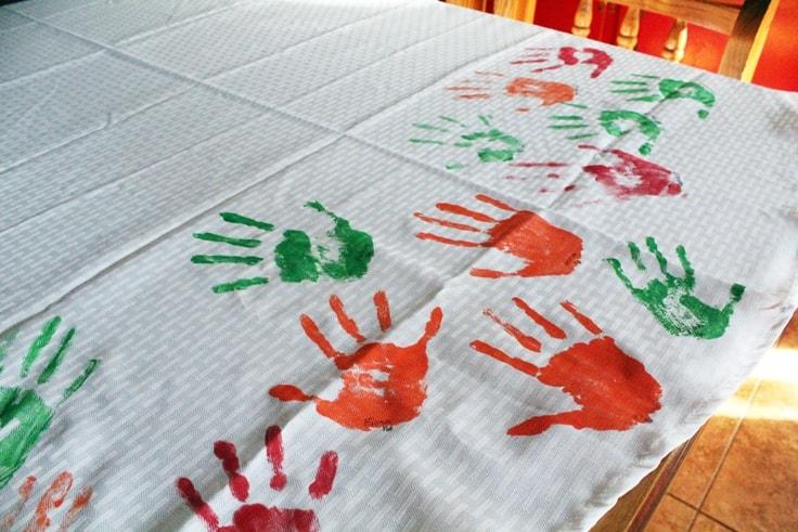 DIY Handprint Tablecloth kids activity