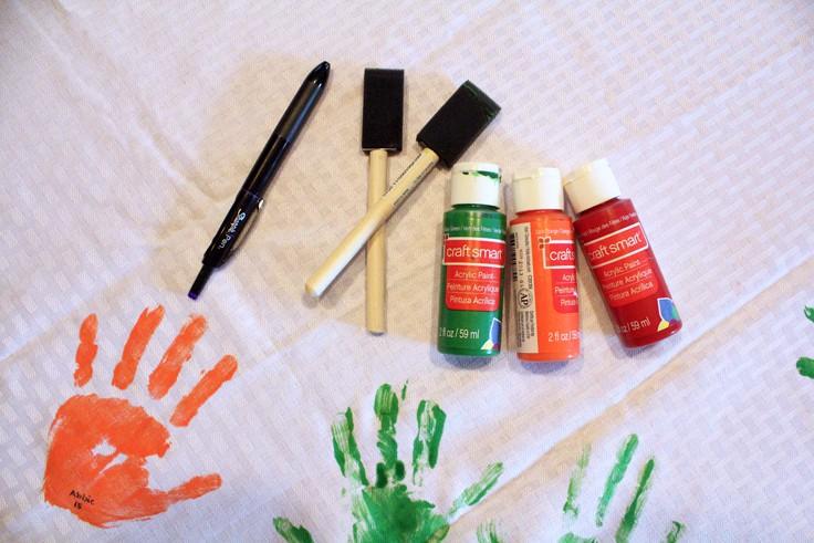 DIY Handprint Tablecloth Supplies