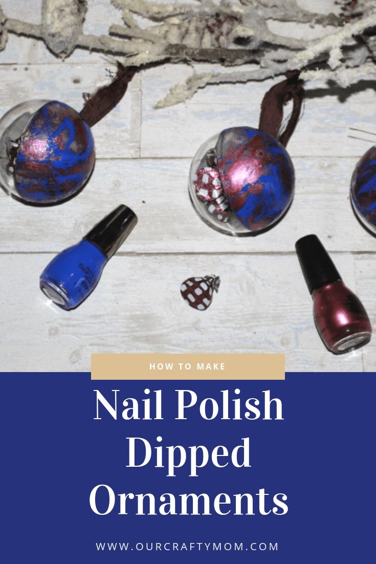 Nail polish-dipped Christmas ornaments