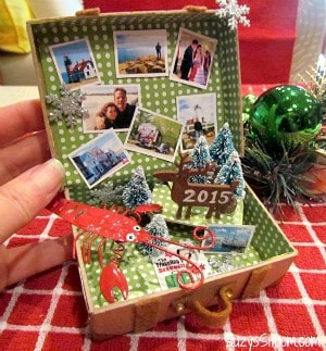 Create a miniature suitcase ornament with photo memories!