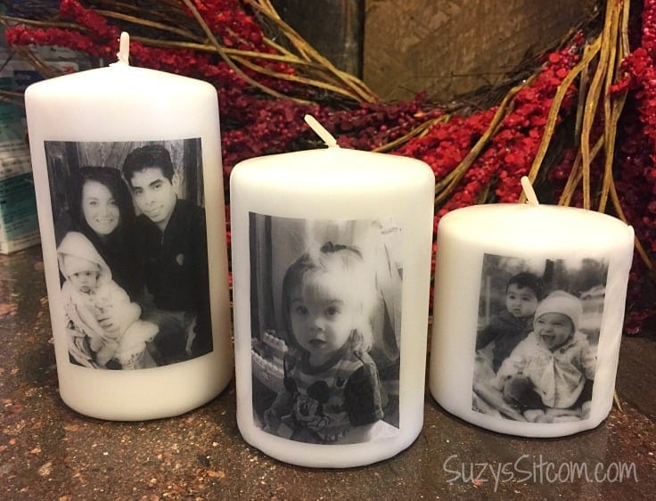 Easy to make personalized photo candles.  A great gift idea and a cherished memento!