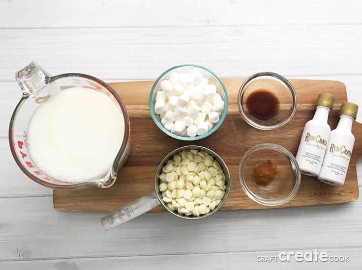 The ingredients for spiked hot white cocoa