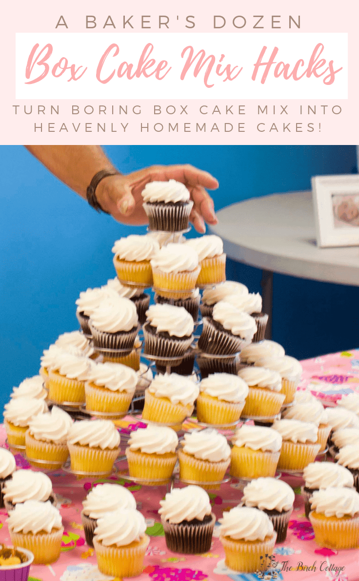 Did you know that you can turn ordinary and boring box cake mix into homemade cakes that taste like bakery quality slices of heaven with a few simple baking tips? We've got 13 hacks using super easy additions such as pudding mix or soda, plus so much more to take your cake to the next level. #cake #baking #kenarry