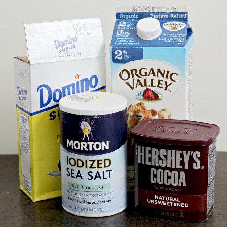 Ingredients to make single serve hot chocolate - Sugar, Milk, salt and cocoa powder.