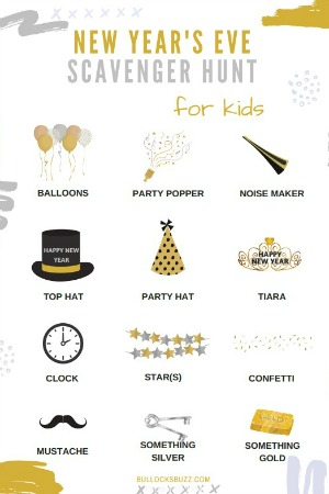 Keep kids entertained on new Year's Eve with this free printable New Year's Eve Scavenger Hunt