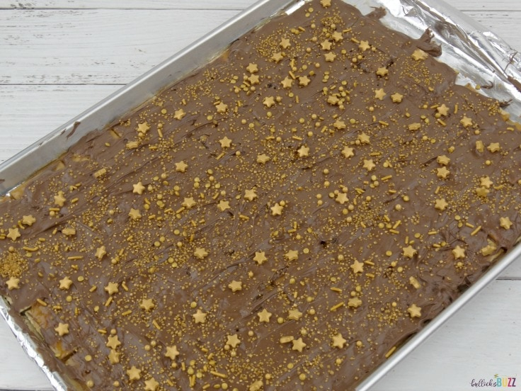 add sprinkles to your New Year's Eve Toffee Bark Recipe