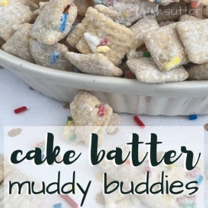 Cake Batter Muddy Buddies; TrishSutton.com