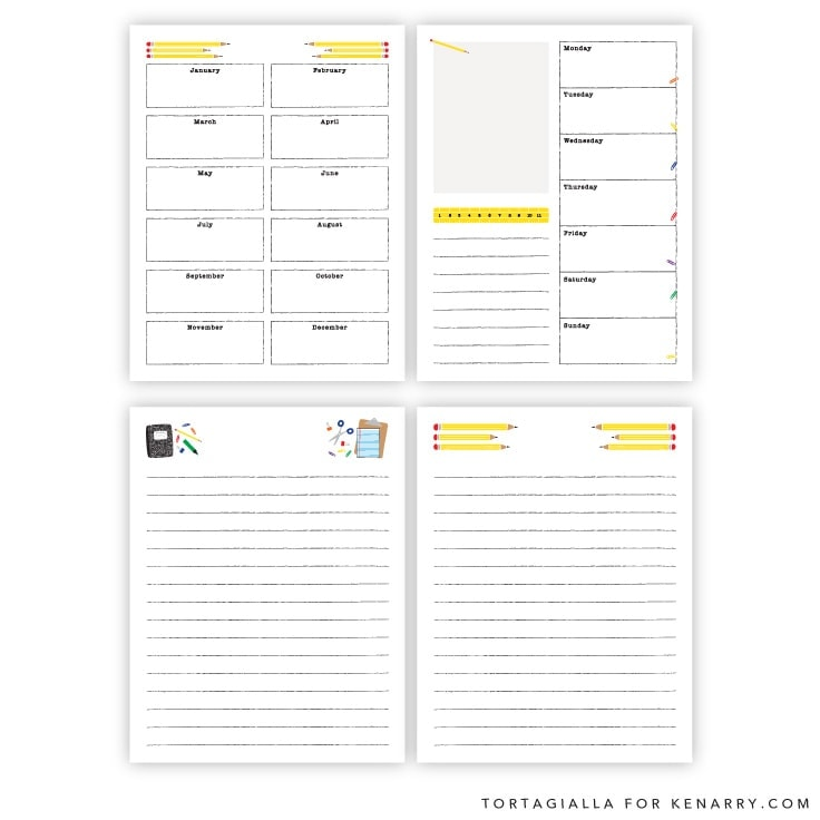Perpetual Kids Planner Pages on Kenarry.com / Here's a set of free printables to introduce and teach your little ones about planning, calendar of dates and consistency in time management. #planner #plannerpages #kenarry