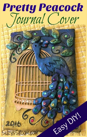 Pretty peacock journal cover made with polymer clay.  Free pattern!