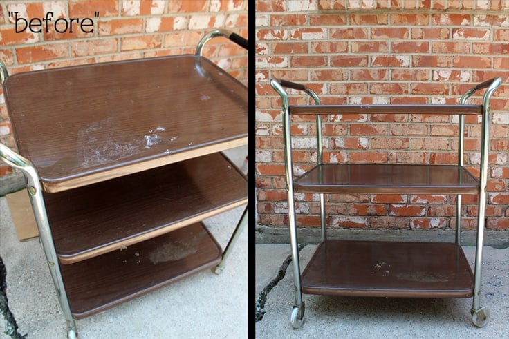 Update an old rolling cart with a simple paint job to turn it into a festive winter cocoa station, a New Year's Eve bar, or an everyday craft station.