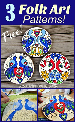 3 Free Folk Art patterns to paint!
