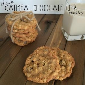 Chewy Oatmeal Chocolate Chip Cookies Recipe | TrishSutton.com