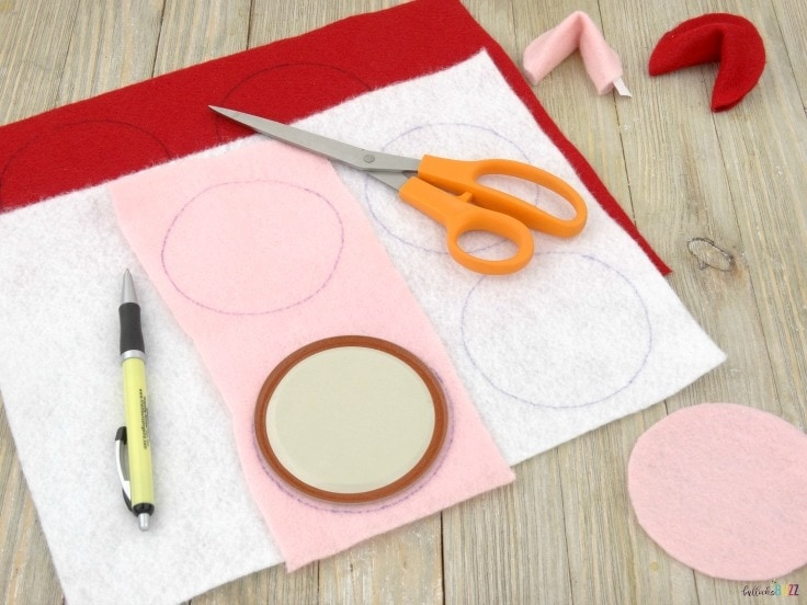 DIY Valentine's Day Fortune Cookies trace and cut out circles