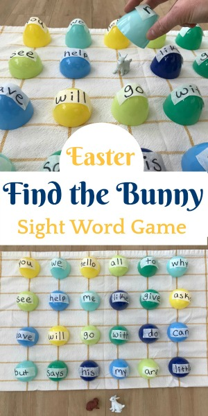 Easter sight word reading game with white bunny.