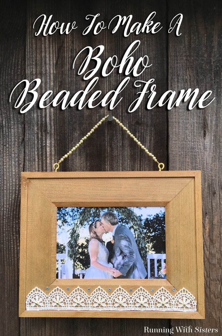 Make your own easy DIY Boho Beaded Picture Frame to hang on the wall. We'll show you how to add lace, pearls, and crystals to a wooden frame. And how to make a beautiful beaded hanger! #pictureframes #diyhomedecor #kenarry