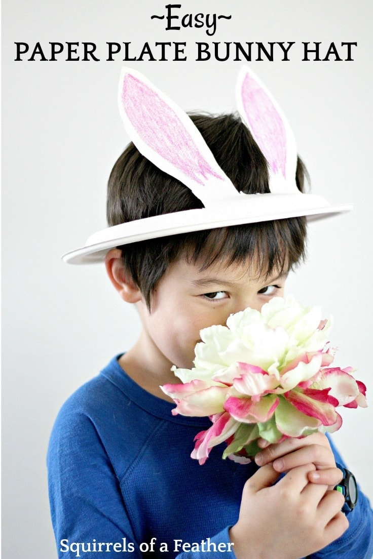 This adorable paper plate bunny hat is easy to make and can be used as a fun Easter craft for kids or just for pretend play. Learn how to make a paper plate bunny hat complete with bunny ears! #easter #eastercrafts #kenarry