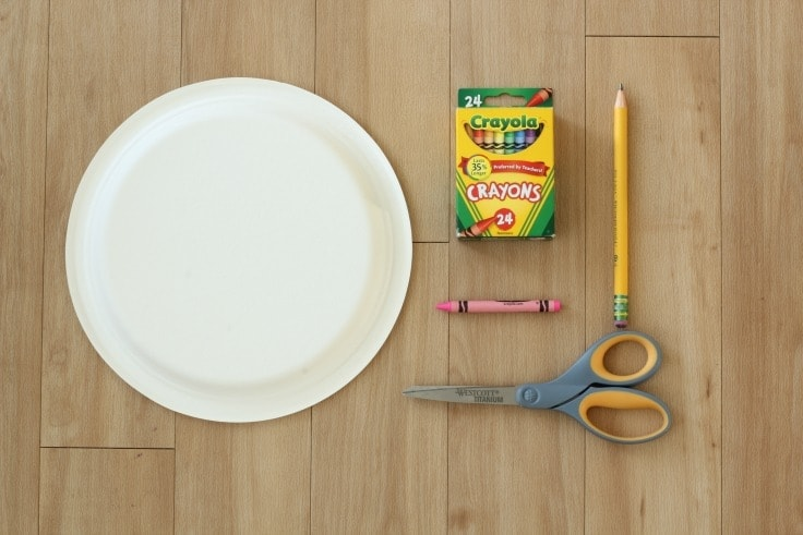 Supplies to make paper plate bunny hat