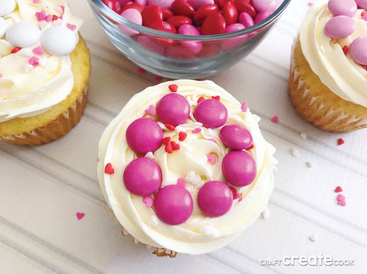 These Easy to Make Valentine Cupcakes are the perfect Valentine's Day treat! Everyone will think they are homemade/store bought but only you will know how much time and money you saved by starting with a boxed mix.