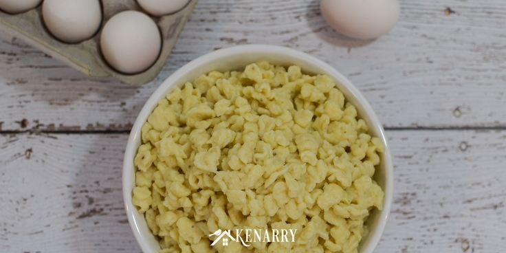 a bowl of traditional Bavarian style German egg noodles made with this easy spaetzle recipe.