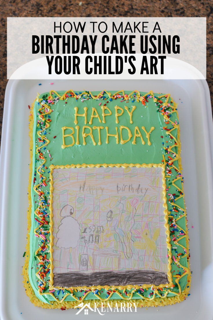 Make your child's artwork or drawing into a unique and fun art cake for a birthday party. This kid's homemade birthday cake idea is so easy anyone can do it! #birthday #birthdaycake #kenarry