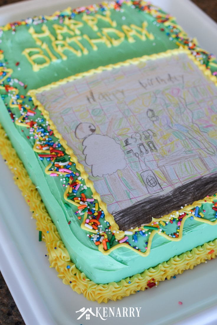 Make your child's artwork or drawing into a unique and fun art cake for a birthday party. This kid's homemade birthday cake idea is so easy anyone can do it! #kidsbirthday #cakerecipe #kenarry