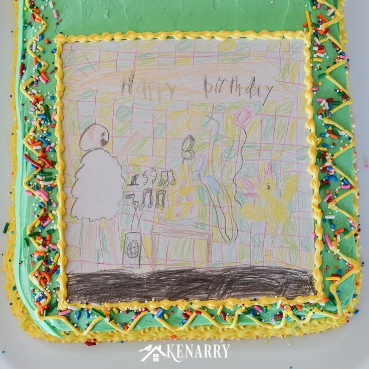 Make your child's artwork or drawing into a unique and fun art cake for a birthday party. This kid's homemade birthday cake idea is so easy anyone can do it! #birthdayideas #baking #kenarry