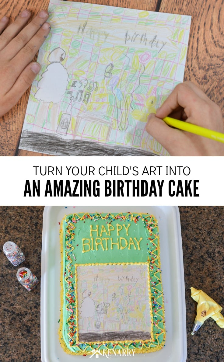 Make your child's artwork or drawing into a unique and fun art cake for a birthday party. This kid's homemade birthday cake idea is so easy anyone can do it! #cakedecoratingideas #cakedecorating #kenarry