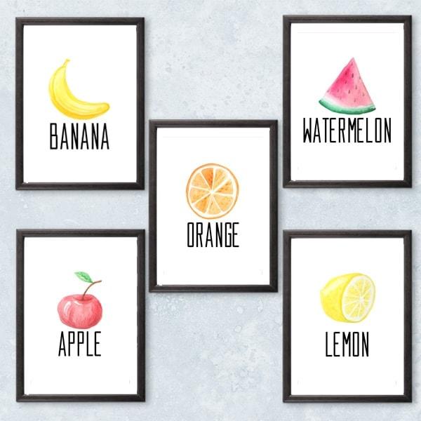Printable Fruit Wall Art / OneMamasDailyDrama.com