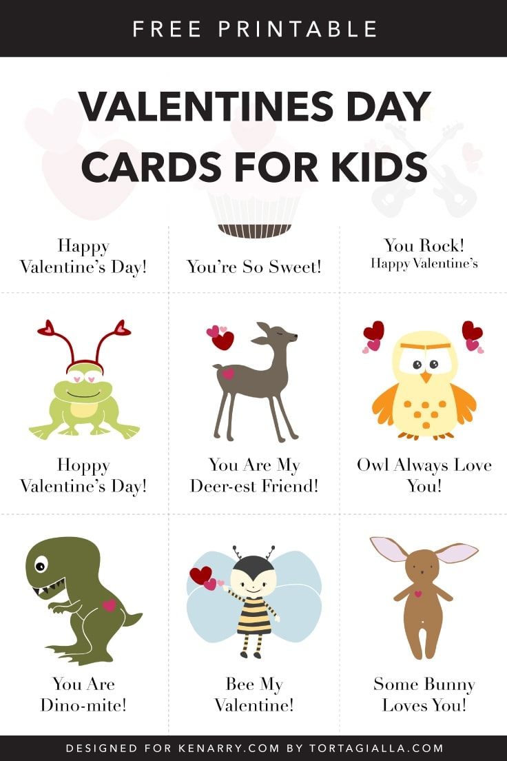Need simple classroom valentines? Check out these free printable valentine cards for kids, a variety of sweet and funny designs to print at home and bring to school to give out to friends. #valentines #valentinesday #kenarry