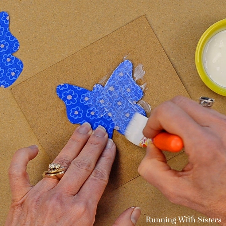 how to decoupage wood butterflies with fabric for a spring wreath