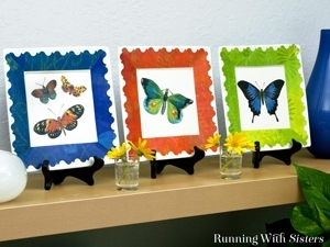 Turn a plain white plate into a colorful decorative home accent with clip art and Mod Podge to make Decoupaged Butterfly Plates!