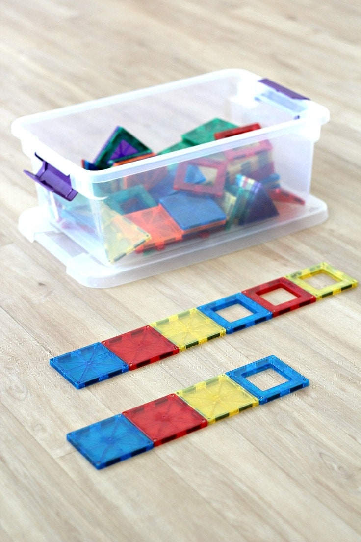 Learn how to teach pattern recognition by playing fun preschool pattern games and activities with magnetic tiles