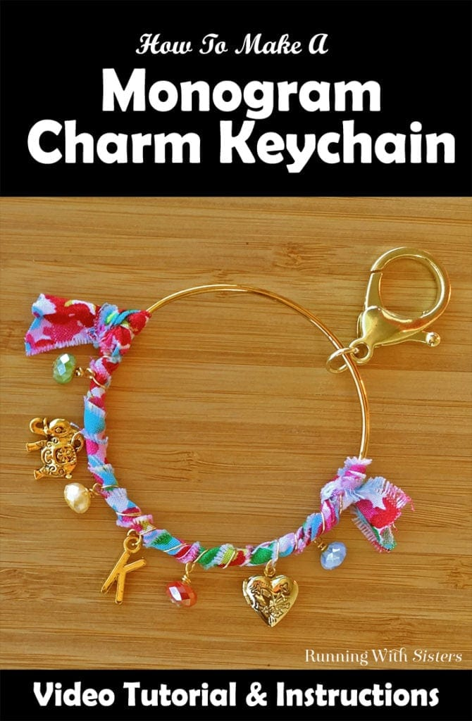 Make a DIY Monogram Charm Keychain to give as a handmade gift or keep for yourself! It's easy to personalize this boho keychain with colorful fabric, beads, and charms. Click through to watch the video tutorial and learn how to make it now! #keychain #crafts #kenarry